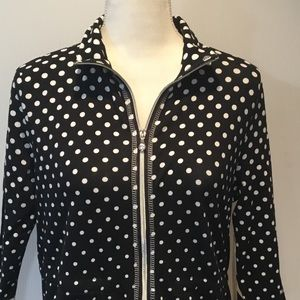 Onque Casual Black & White Polka-dot Jacket Size S